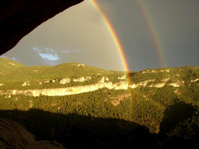 Solche Regenbogen kann man in Siurana zu sehen bekommen