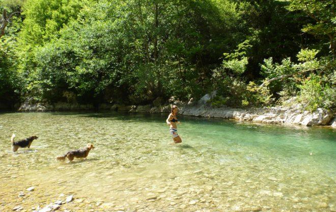 Ein erfrischendes Bad im Fluss